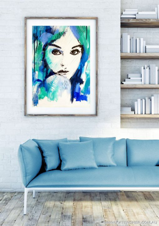 """""""It's a Man's World"""" wall art print in blue and green by Australian artist Kate Fisher. Artwork styled in frame in a modern white living room interior."""