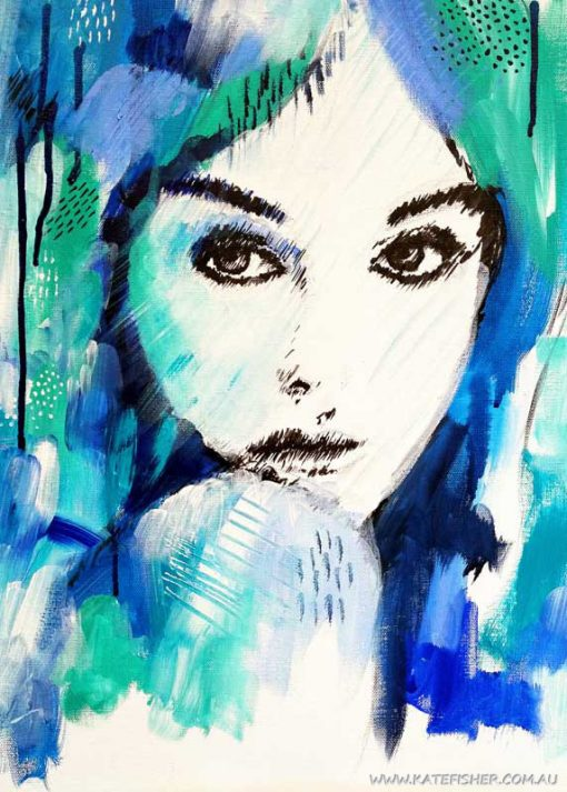 """""""It's a Man's World"""" female portrait wall art print in blue and green by Australian artist Kate Fisher."""