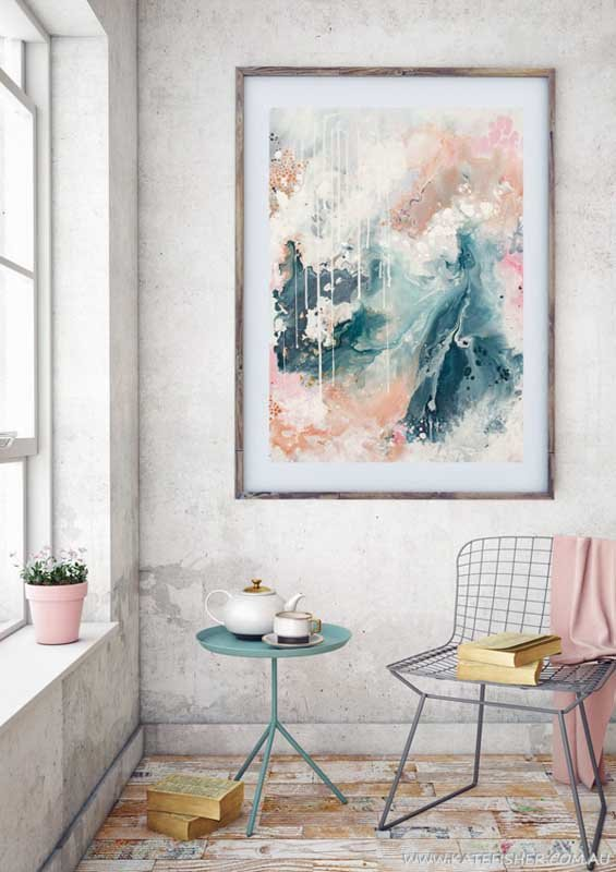 """""""Nordic Sky"""" abstract wall art print in soft pastel neutral colours of copper, grey blue and blush by Australian artist Kate Fisher. Styled in modern living room."""