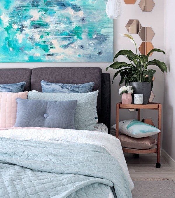 """Contemporary bedroom styling in grey, sage and blue with adairs bedding and Kate Fisher original art painting """"Halcyon"""""""