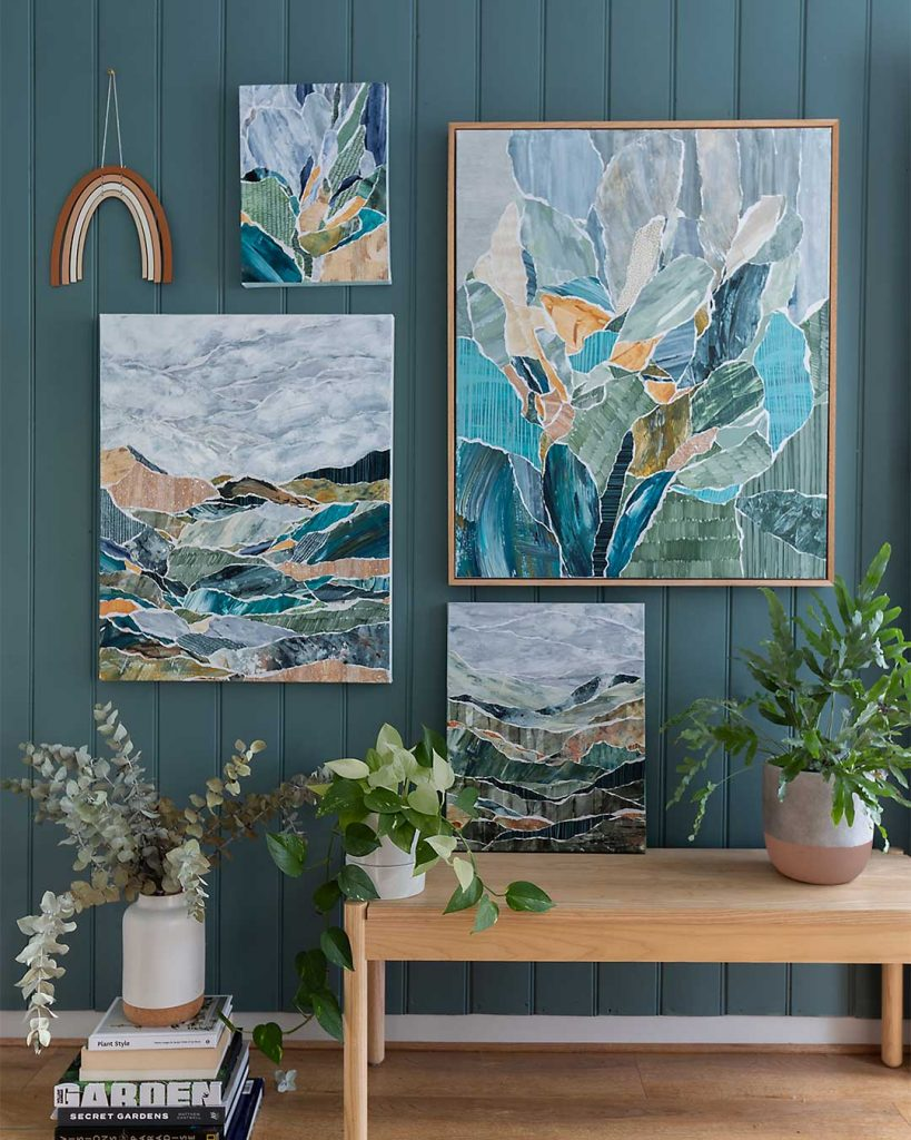 Kate Fisher Art April 2019 abstract collage series gallery wall